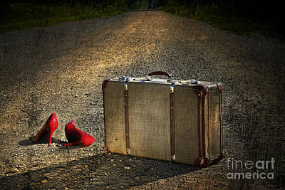 Old Suitcase With Red Shoes Left On Road Print by Sandra Cunningham