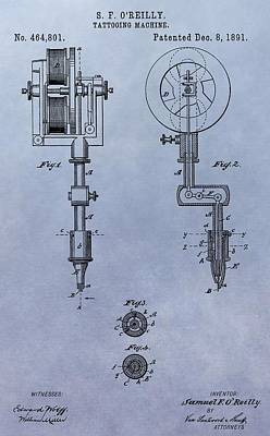 Old Tattoo Gun Patent Print by Dan Sproul