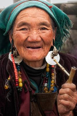 Old Tibetan Woman Print by James Wheeler