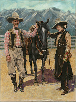 Old Time Painting - 1920's Equestrian Fashion by Don  Langeneckert