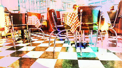 Table Cloth Digital Art - Old Time Diner by Susan Stone