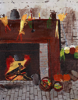 Painting - Old Time Fire Place by Swabby Soileau