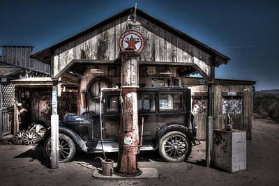 Old Time Gas Station - 1927 Dodge Art Print