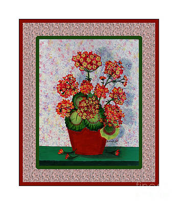 Old Time Geraniums Art Print by Barbara Griffin