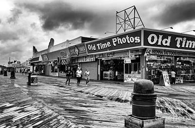 Seaside Heights Photograph - Old Time Photos Mono by John Rizzuto