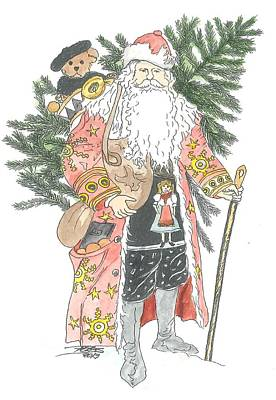 Old Time Santa With Teddy Original