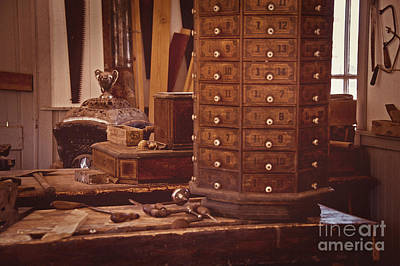 Photograph - Old Time Woodworking Tools And Bench Vintage by Lee Craig