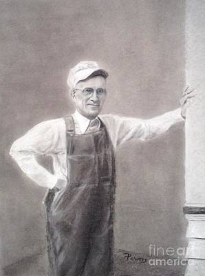 Drawing - Old-timer In Overalls by Mary Lynne Powers