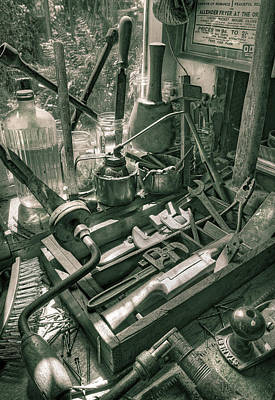 Old Tool Shed Photograph - Old Tools by Mal Bray