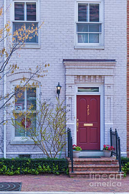 Photograph - Old Town Alexandria Virginia Red Door White  by David Zanzinger