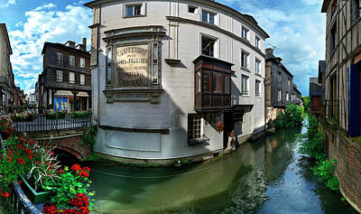 Old Town And Canal, Pont-audemer, Eure Art Print by Panoramic Images