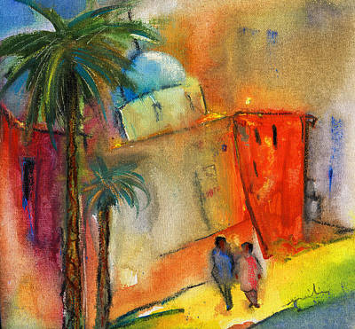 Spanish Town Painting - Old Town Benidorm by Miki De Goodaboom
