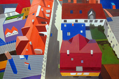 Row Homes Painting - Old Town Center by Toni Silber-Delerive