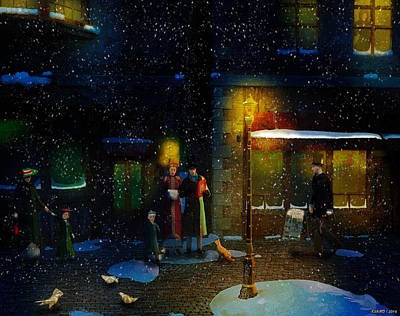 Cheers Mixed Media - Old Town Christmas Eve by Ken Morris