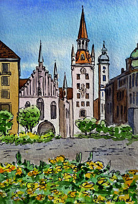Postcard Painting - Old Town Hall Munich Germany by Irina Sztukowski