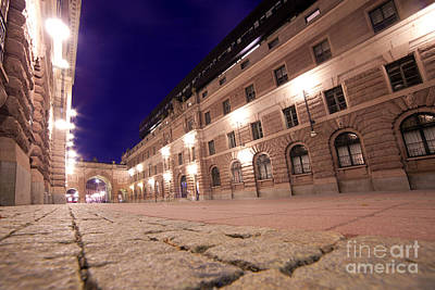 Photograph - Old Town In Stockholm At Night by Michal Bednarek