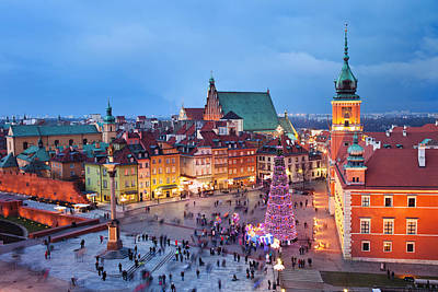 Christmas Holiday Scenery Photograph - Old Town In Warsaw At Night by Artur Bogacki