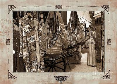 Photograph - Old Town Mexican Clothing Market Sepia Toned Textured With Border  by Sherry  Curry