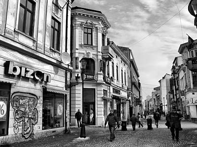 Photograph - Old Town Of Bucharest - Romania/ Black And White  by Daliana Pacuraru