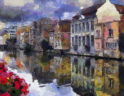 Building Exterior Digital Art - Old Town On River by Yury Malkov
