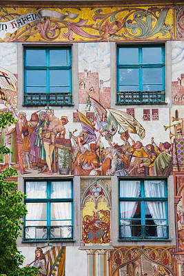 Mural Photograph - Old Town Painted Building, Konstanz by Panoramic Images