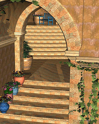 Digital Art - Old Town Stairs And Arches by Judi Suni Hall