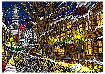 Concord Drawing - Old Town by Thome Designs
