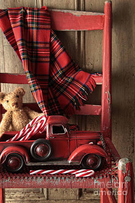 Photograph - Old Toy Truck With Teddy Bear On Red Chair by Sandra Cunningham