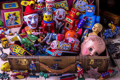Old Toys In Suitcase Art Print by Garry Gay