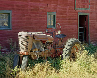 Photograph - Old Tractor And Red Barn by Ann Powell