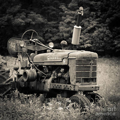 Old Tractor Black And White Square Print by Edward Fielding