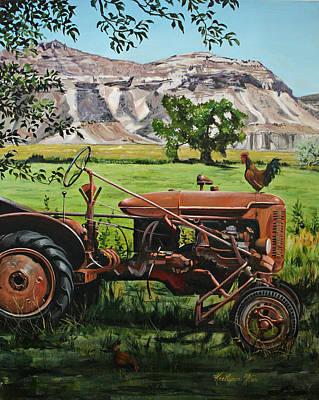 Old Farm Equipment Painting - Old Tractor by KaeLynn Winn