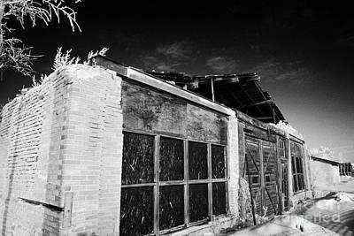 old traditional brick and wood building in disrepair Forget Saskatchewan Canada Art Print