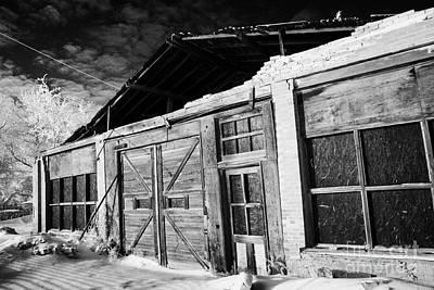 old tradtional brick and wood building in disrepair Forget Saskatchewan Canada Art Print by Joe Fox