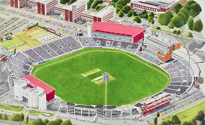 Old Trafford Cricket Stadia Art - Lancashire County Cricket Club Art Print by Brian Casey
