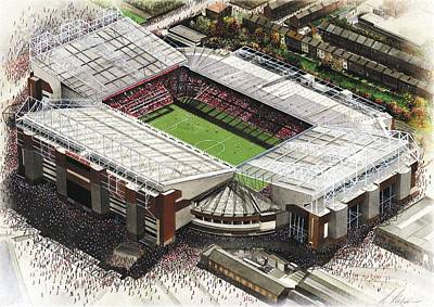 Sports Paintings - Old Trafford - Manchester United by Kevin Fletcher