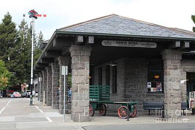 Old Train Depot At Historic Railroad Square Santa Rosa California 5d25877 Art Print by Wingsdomain Art and Photography