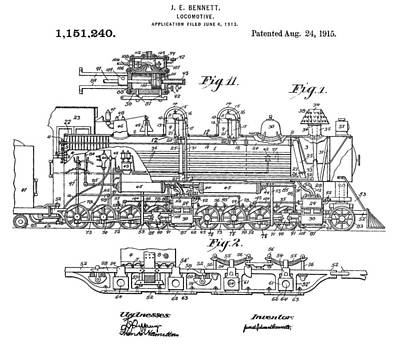 Train Digital Art - Old Train Patent by Dan Sproul