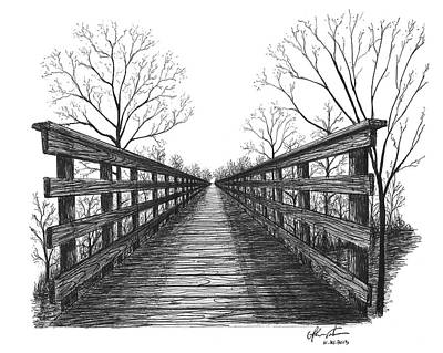 Ballpoint Drawing - Old Trestle Bridge Trail by Adam Vereecke