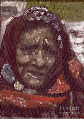 Painting - Old Tribal Woman From India by Mukta Gupta
