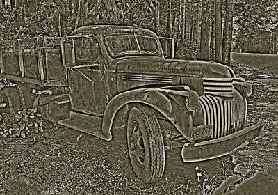 Art Print featuring the photograph Old Truck In Sepia by Betty Depee