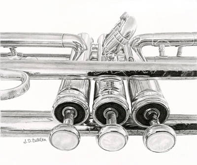 Hyper-realism Drawing - Old Trumpet Valves by Sarah Batalka