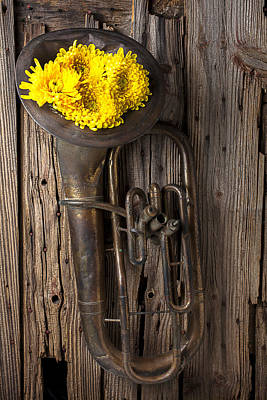 Old Tuba And Yellow Mums Art Print by Garry Gay