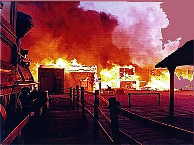 Old Tucson In Flames Art Print