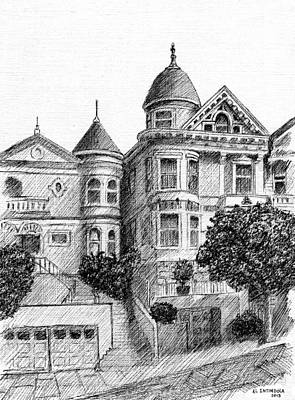 Drawing - Old Victorian Houses by Al Intindola