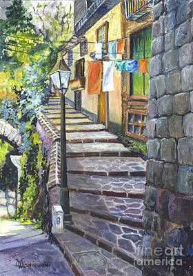 Old Village Stairs - In Tuscany Italy Art Print by Carol Wisniewski