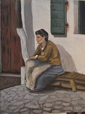 Corfu Painting - Old Villager  by Nikiforos Kouris