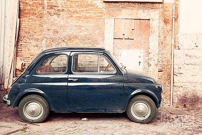 Old Vintage Fiat 500 Car In Rome Italy Art Print