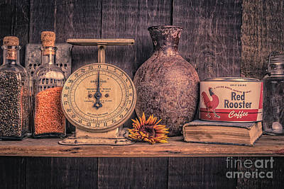 Photograph - Old Vintage Kitchen Shelf by Edward Fielding