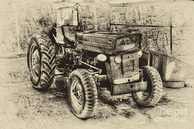 Photograph - Old Farm Tractor- Pencil by Doc Braham